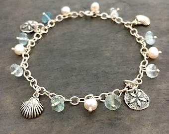 Blue Aquamarine Beach Bracelet. Sand dollars, Clamshell, Pearls, Blue Gemstones, Natural Aquamarine Bracelet