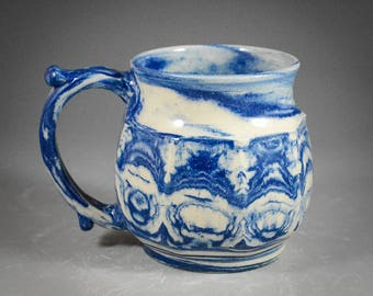 Wheel Thrown and Faceted Blue and White Marbled Clay Mug