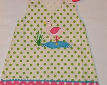 ON SALE 2T Personalized Flamingo Dress Aline Jumper - Clearance