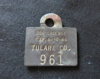 Vintage 1966 Dog License Brass Tag - FREE SHIPPING