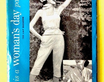 ON SALE Uncut Woman's Day 5069 1950s play-clothes tapered pants, wrap blouse Pants button below the knee Vintage Sewing Pattern Bust 32