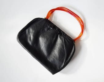 1950s/1960s Black Leather Purse with Orange Lucite Handles