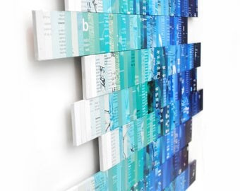 OMBRE blue & teal wall art -  made from recycled magazines, strips of paper, bright, multi-colored,art, design,unique, ocean,beach,beautiful