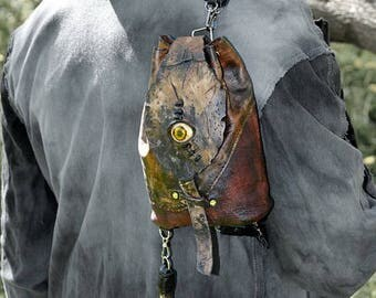 Small backpack Fangs Zombie apocalypse Teeth Small backpack purse Zombie bag Dead eye Zombie doll Zombie cosplay Necronomicon Zombie ее