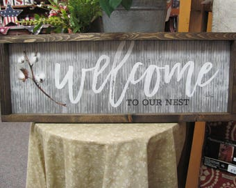Welcome,Cotton Wall Decor,Welcome To Our Nest,Handmade Shadowbox Frame,Marla Rae,9x25,Cotton Stem