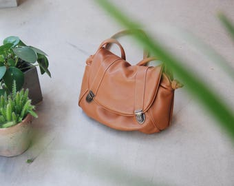 """Isaak"" caramel brown leather satchel"