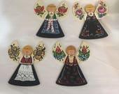 Norwegian Bunad or Rosemaled Angel ornament