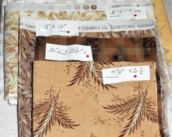 FABRIC DESTASH/4 Plus Yards Assorted Cotton Fabrics/Different Fabric Manufacturers/Fall Colored N Leaf Themed Prints/Variety Sized Remnants