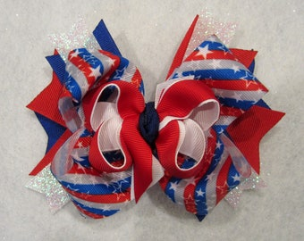 Patriotic hair bow, Stars and stripes bow, 4th of July Bow, red white and blue hairbow, american flag Bow, Fireworks Bows, girls stacked bow