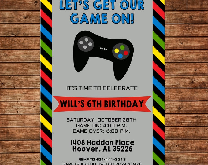 Boy or Girl Invitation Video Game Truck Birthday Party - Can personalize colors /wording - Printable File or Printed Cards