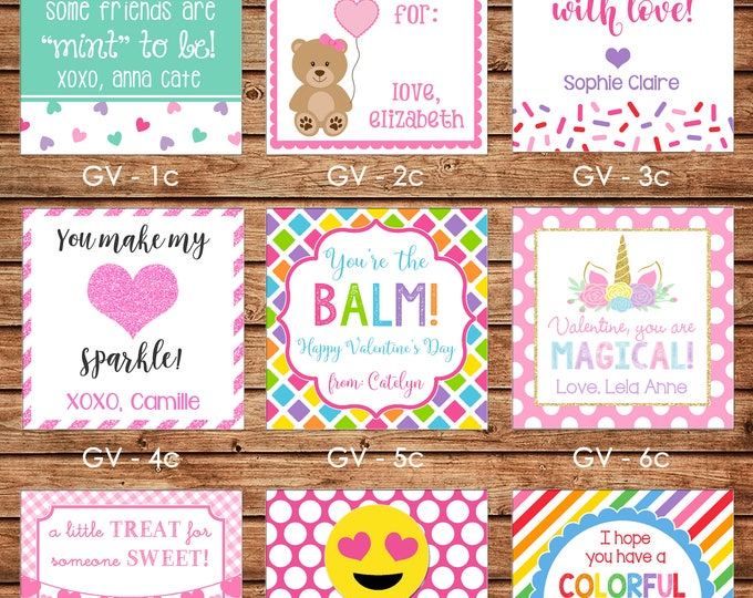 24 Printed Girl Valentine Square Gift Tags Enclosure Cards Stickers - Can personalize - Choose ONE design