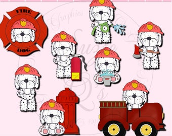 Spot The Fire Dog SEMI-EXCLUSIVE Clipart Collection - Immediate Download