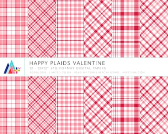 Happy Plaids Valentine Digital Papers - 12 patterns for scrapbooking, cards, invitations, printables and more - instant download - CU OK