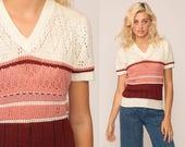 Boho Shirt Short Sleeve Sweater Top 70s Knit Blouse SHEER Striped POINTELLE Pink Burgundy Off White Vintage Hipster Bohemian Medium Large