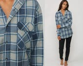 Plaid Shirt 80s Grunge Flannel Button Down Grey Blue 90s Vintage Long Sleeve Lumberjack Hipster Checkered Retro Large