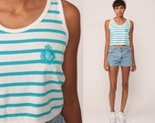 Striped Tank Top 80s Tee Retro Shirt ENERGIE Striped Crop Top Surfer Blue White Nautical Sleeveless Top 1980s Hipster Vintage Small