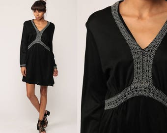 Black Mini Dress 70s Boho METALLIC CROCHET Trim 1970s Empire Waist Babydoll Party Hippie Vintage Grecian Long Sleeve Large