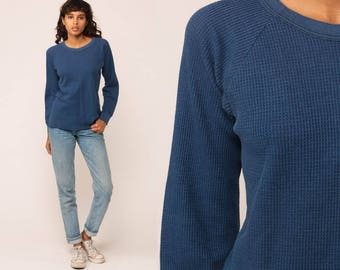 Thermal Shirt Long Sleeve Shirt WAFFLE KNIT Shirt 80s T Shirt Blue DISTRESSED Grunge Top Hipster Retro Tee Vintage Normcore Medium