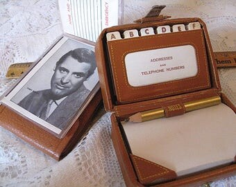 Vintage Pigskin Card Holder and Leather Like Mini Suitcase Address Book Notepad Holder With Pencil Lot of Two To Keep You Organized C Detail