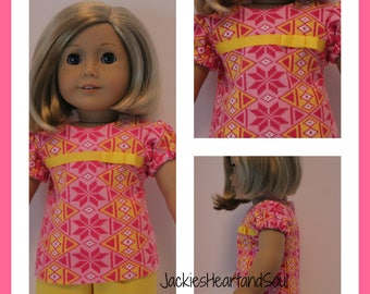 T-Shirt Pink and Yellow Geometric Print Fits 18 inch Doll