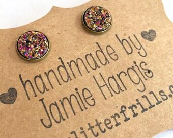 Druzy stud earrings. Rose gold druzy earrings. Rose gold jewelry. Gifts under 10 dollars. Best friend jewelry. Gifts for girls.