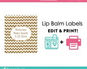 DIY printable lip balm labels editable gold glitter chevron baby shower favors or bridal or wedding PDF Digital File (No.16)