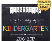 DIY editable printable First day of school ANY grade Girls or Boys chalkboard poster Instant download sign Digital File PDF 16x20