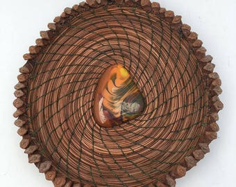 Pine Needle Basket with Swirled Green/Gold Glass Center- Item 748 by Susan Ashley