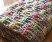 Crochet Pastel Pale Colors Textured Handmade Basketweave Lightweight Baby Afghan Blanket Coverlet Ready to Ship Night and Day Crochet