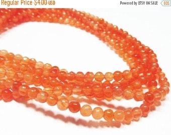 "20% OFF 7"" Gemstone STRAND - Jade Beads - 4mm Smooth Rounds - Mandarine Orange (7"" strand - 42 beads) - str887"