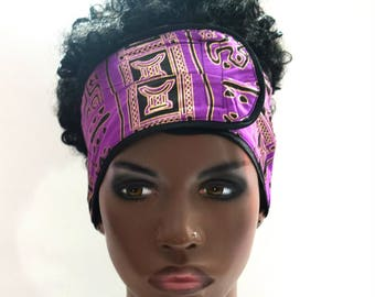 Purple & Gold African Inspired Wrap Cap- Satin Lined-Wrapped Hair