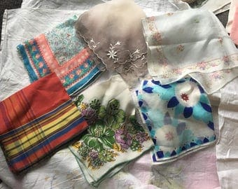 Vintage Handkerchiefs Lot of 6 plaid ombre floral