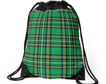 Punk Green (Tartan) - Drawstring Backpack - Death's Amore Clothing