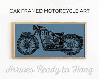 Vintage Motorcycle Art - Motorcycle Wall Decor - Custom Motorcycle Print