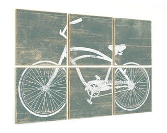 Distressed Vintage Beach Cruiser Bike Print - Bicycle Print on Wood
