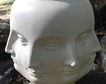 Planter, head, perpetual head, head planter, vase, matte, white, NO drain hole, ceramic, handmade, pot, flower pot, vase