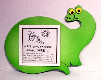Dinosaur Picture Frame - Hand Painted Wooden Frame