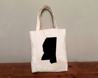 Mississippi Tote Bag with Optional Heart