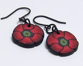 Poppy Flower Dangle Earrings, Red & Black, Polymer Clay Cane, Floral Nature Jewelry, Unique Womens Gift