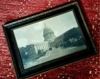 Vintage Madison State Capitol Picture Framed Photograph Compliments Wm. J. Meuer Pres. Photoart House Madison 1920s
