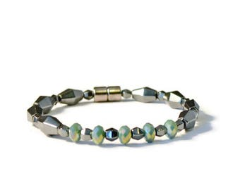 Black Magnetic Hematite Therapy Bracelet with Green Crystal Beads, Arthritis Jewelry, Pain Relief