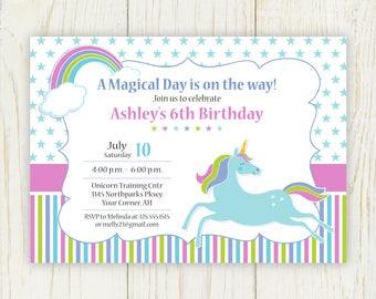 Unicorn Birthday Party Invitation - digital - 5x7