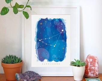Capricorn Star Sign, Capricorn Zodiac Art Print, Astrology Gift, Capricorn Gifts, Horoscope Art, Constellation Poster, Decor, A4, A3