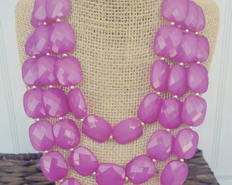 FREE EARRINGS Fuchsia Dark Pink Triple Strand Chunky Statement Bib Necklace...Purchase 3 or more get 10% off