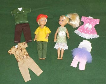 CHLSE-D-7) 5 inch Chelsea and 5 inch Darin dolls and 3 outfits each