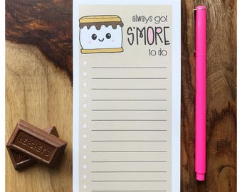 NEW! Funny Always Got S'More To Do | Punny Camping Packing To Do List Notepad | 50 Sheets with Optional Magnet | kiss and punch