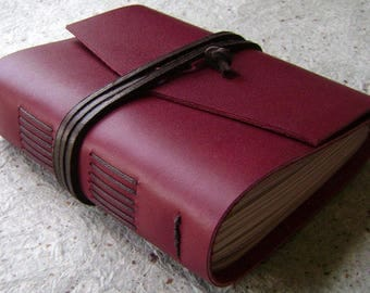 """Handmade rustic leather journal, 4"""" x 6"""", 288 pages, vintage style journal,leather sketchbook, travel diary  (2611)"""