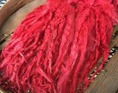 Long Suri Alpaca Locks, 11 Inches, Tomato, 2 Ounces, Chantilly Lace