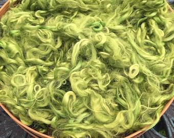 "Suri Alpaca Fiber, Seconds, Hand-Dyed, Chartreuse, ""Shiya"""