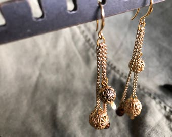 SOLD - Gold Chain Drop Earring with Reclaimed Gold Spheres and Czech Glass Beads